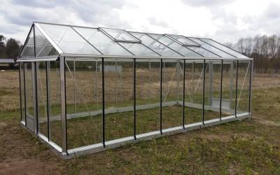 Šiltnamis Ventus 309x604cm, nedažytas, danga 4mm grūdintas stiklas