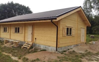 Vasarnamis 600x1200cm su garažu, siena 90mm,  4 kambariai.