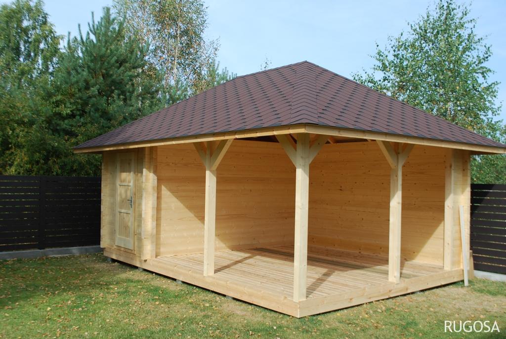 IN3 Sandėliukas su pavėsine 600 x 400 cm, sienos storis  pasirinktinai 44/60/90 mm, pavėsinė 400x400 cm, sandėliukas 200x400 cm, keturšlaitis stogas, nedažytas, su grindimis. Kaina nuo 4250 Eur