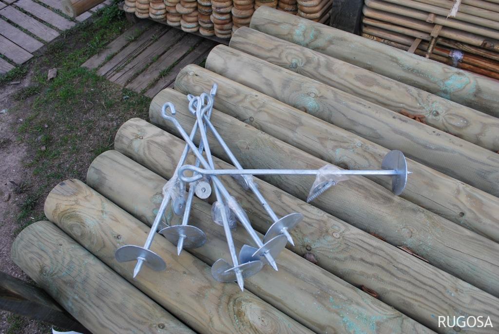 SU09 Sūpynių, žaidimų bokštų tvirtinimo inkarai su grąžteliu, L50 cm.