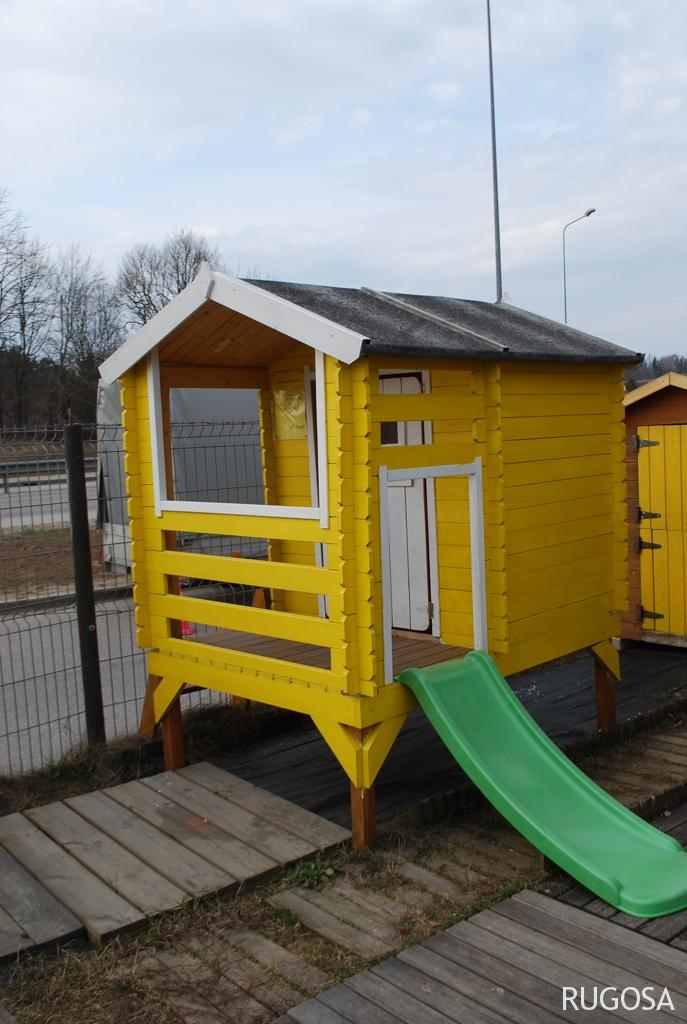 VN04 Žaidimų namelis Vilius su plastikine čiuožykle 120cm, 175x130(135x118)x h 205cm, siena 19 mm, ruberoidinė stogo danga, nedažytas. Kaina nuo 472 Eur