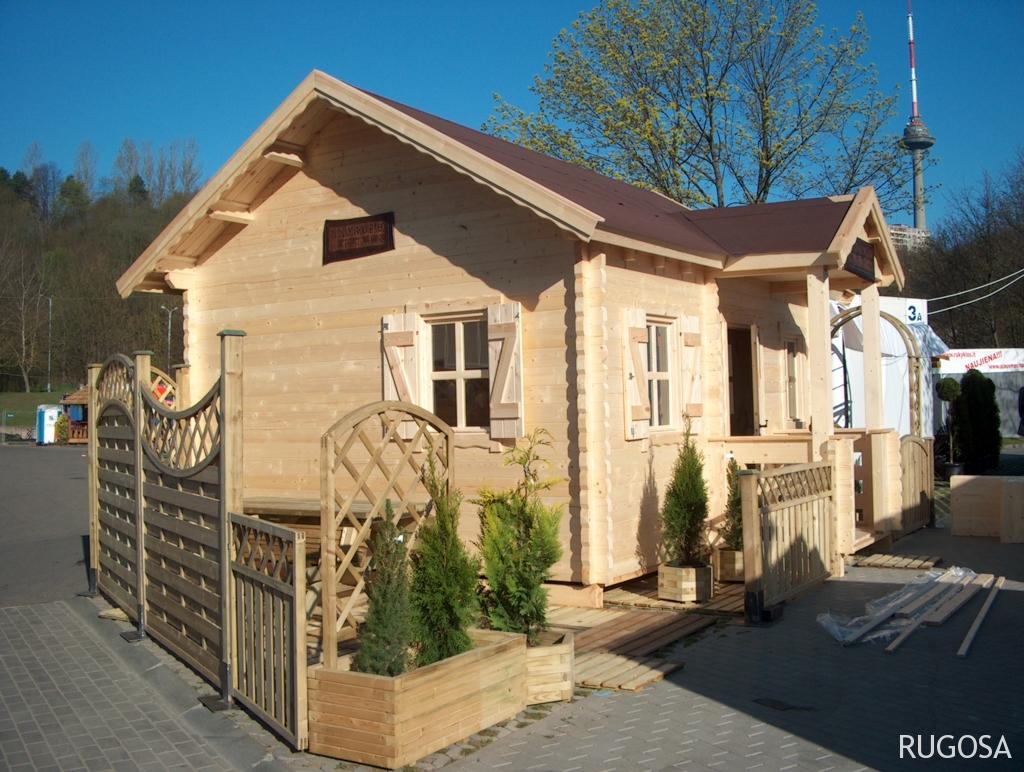 Vasarnamis/pirtelė 500 x 400 cm,  dvišlaitis, pusantro aukšto, dviejų kambarių, su gonkelėmis