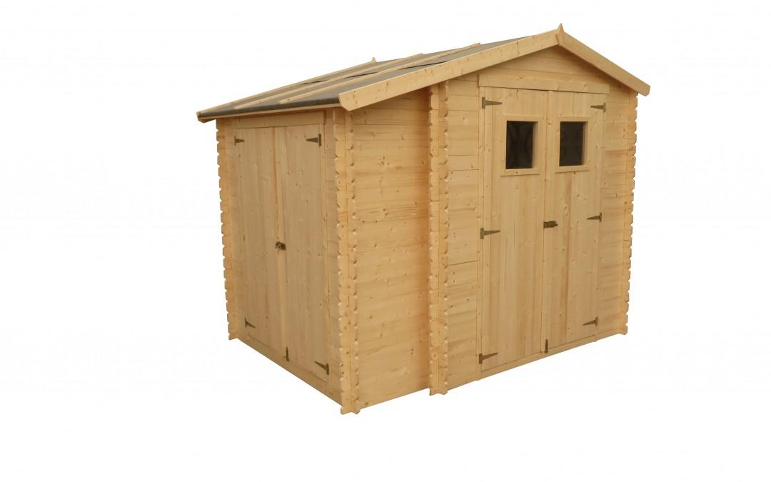 """IN9 - Įrankių namelis su sandėliuku """"Du viename"""" , sienos storis 19 mm,  namelis  188x188 cm su integruotu sandėliuku 56x168 cm, su ruberoidine stogo danga , be grindų. Kaina nuo 595 Eur."""