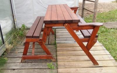 LB06 Lauko baldai - stalas-suoliukas Picnic sulankstomas 150x130x h 78cm, impregnuotas, nedažytas.