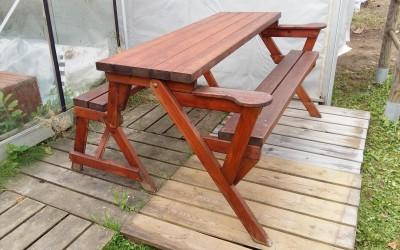 LB06 Lauko baldai - stalas-suoliukas Picnic sulankstomas 150x130x h 78cm, impregnuotas, nedažytas. Kaina nuo 120 Eur