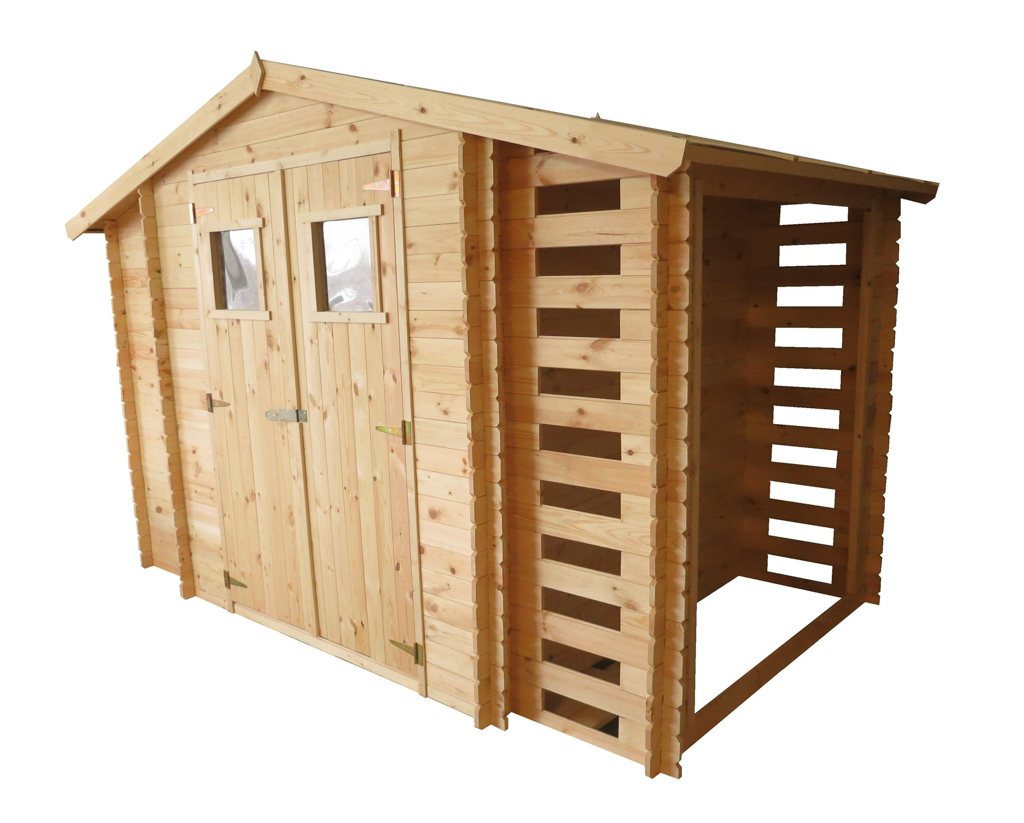 MA03 Malkinė Trys viename , malkinė 58x168cm integruota su  sodo nameliu 188x188cm ir sandėliuku 58x168cm, dvišlaitė, siena 19 mm, be grindų. Kaina nuo 749 Eur
