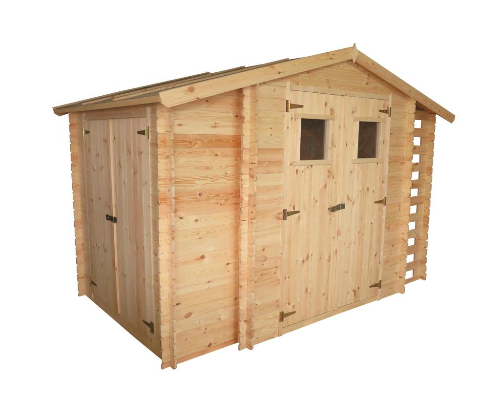 """Malkinė """"Trys viename"""", 300x200 cm, dvišlaitė, sienos storis 19 mm, sandėliukas - 58x168 cm, sodo namelis - 180x180 cm, malkinė - 58x168 cm, be grindų."""