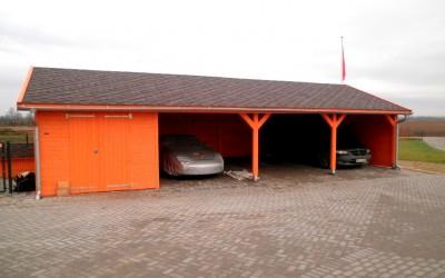 AP10 Autopavėsinė su garažu, 1200x500cm (garažas  280x450cm), apkalta 19 mm storio dailylente, be grindų. ..