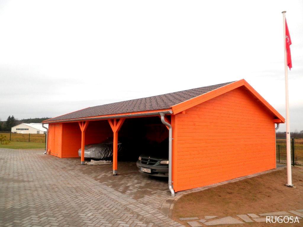 AP10 Autopavėsinė su garažu, 1200x500cm (garažas  280x450cm), apkalta 19 mm storio dailylente, be grindų.