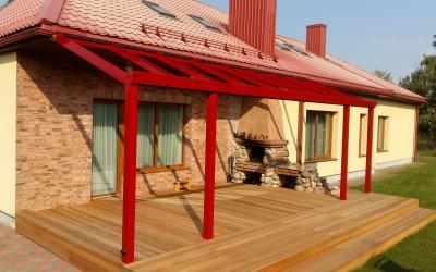 SG02 Stoginė SOLAR veranda 200x800cm, dažyta aliuminio konstrukcija, danga 8mm skaidrus grūdintas stiklas, su šonų uždarymu rėmine slankia sistema