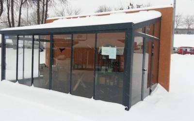 SG11 Stoginė SOLAR veranda 300x600cm, dažyta AL konstrukcija, stogo danga 16mm PC, šonai - rėminė slanki stacionari sistema 4mm grūdinto stiklo.Kaina nuo 6400 Eur