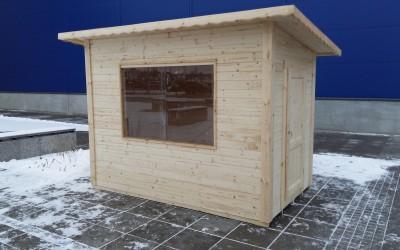 SN14 Prekybinis kioskas 300x200 cm, skydinis, siena 19 mm, stogas vienšlaitis, nedažytas. Kaina nuo 1600 Eur