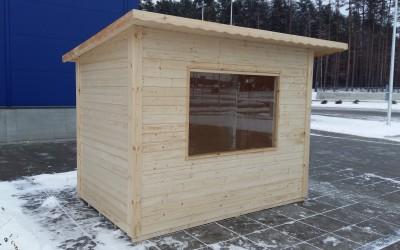 SN14 Prekybos kioskas 300x200 cm, skydinis, sienos storis 19 mm, stogas vienšlaitis, nedažytas. Kiana nuo 1600  Eur