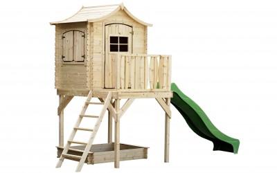 VN11 Žaidimų namelis su plastikine čiuožykle 171x130(118x94)x h 268cm, siena 19mm, čiuožyklė L210cm, ruberoidinė stogo danga.Kaina nuo 579 Eur