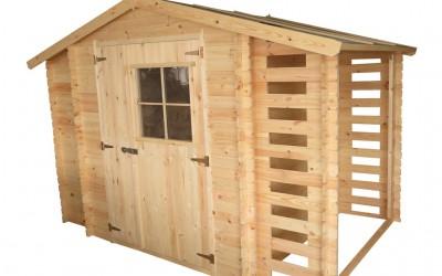 MA03 Malkinė Trys viename , malkinė 58x168cm integruota su  sodo nameliu 188x188cm ir sandėliuku 58x168cm, dvišlaitė, siena 19 mm, be grindų.